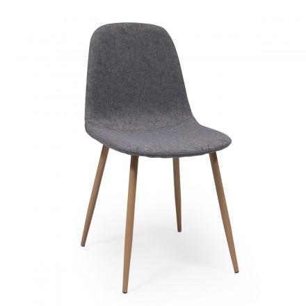 Pack de 4 sillas de comedor CAIRO tapizadas en tela chenilla gris y patas de metal símil madera